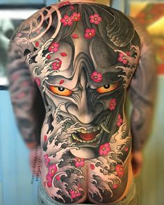 A comprehensive guide to Hannya Mask tattoo: originis, meanings, styles and photo examples. Oni Tattoo, Hannya Maske Tattoo, Hanya Tattoo, Tattoo Henna, Mask Tattoo, Japanese Back Tattoo, Japanese Dragon Tattoos, Japanese Tattoo Designs, Japanese Sleeve Tattoos