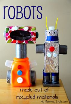 30 creative art projects using recycled materials - My Mommy Style Kids Crafts, Recycled Crafts Kids, Recycled Art Projects, Cool Art Projects, Crafts From Recycled Materials, Robot Crafts, Science Projects, Earth Day Projects, Earth Day Crafts