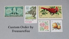 Reserved Custom Order for Lindsey. Unused Vintage US Postage Stamps for mailing wedding invitations by TreasureFox on Etsy