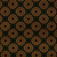 Green and Yellow Medallion Shweshwe Fabric