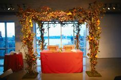 Bat Mitzvah Service under a fall theme huppah (traditional Jewish wedding canopy) {5th Avenue Digital} - mazelmoments.com