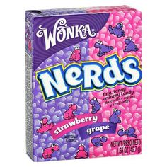 Wonka Nerds Strawberry & Grape - oz by Willy Wonka Candy in Hard Candy Best Candy, Favorite Candy, Taffy Grapes, 1990s Candy, Nerds Candy, Nostalgic Candy, Retro Candy, Vintage Candy, Candy Brands