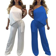 Trendy One Shoulder Tied Waist Flared Jumpsuit Amazing Women, Lingerie, Chic, Shoulder, Sexy, Womens Fashion, Swimwear, Shopping