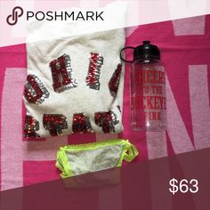 Ohio state bundle with thongs Water bottle,sequined sweater and gray/bright green thongs PINK Victoria's Secret Sweaters Crew & Scoop Necks
