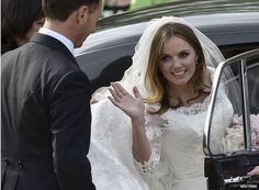 Geri Halliwell arrives for her wedding at St Mary's Church, Woburn