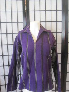 Vintage Ethnic Tunic Shirt V Neck Purple Ivory Black by girlgal6