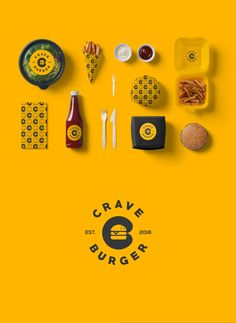 Corporate identity for Crave Burger, a Fast-casual burger restaurant in Qatar Burger Branding, Burger Packaging, Burger Menu, Burger Restaurant, Food Branding, Food Packaging Design, Logo Food, Takeaway Packaging, Identity Branding