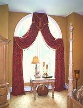 arched window drapes w/ small cornice at top & draped fabric looped over small hidden rods as tie backs Arched Window Coverings, Curtains For Arched Windows, Drapes And Blinds, Arch Windows, Window Curtain Rods, Window Curtains, Curtain Styles, Curtain Ideas, Drapery Ideas