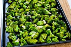 Roasted Broccoli with Garlic Recipe (Low-Carb, Paleo, Gluten-Free, Vegan) [from KalynsKitchen.com]