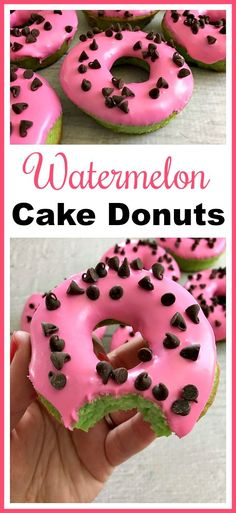 Great party treat for a summer party or pool party! Watermelon Cake Donuts- These watermelon cake donuts are an easy to make dessert that looks so fun and summery! Use boxed cake mix to help put them together quickly! Mini Desserts, Easy To Make Desserts, Summer Dessert Recipes, No Bake Desserts, Delicious Desserts, Baking Desserts, Health Desserts, Easy Homemade Desserts, Homemade Breads