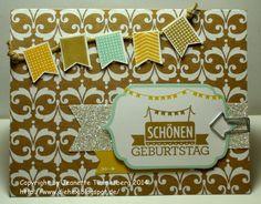 """Geburtstagskarte mit Stampin' Up! Set """"Kartenset für viele Anlässe"""" und """"Sags mit Fähnchen""""."""