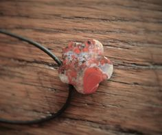 Red Flower Necklace-Poppy Jasper Necklace-Leather Necklace-Hippie Chic Necklace-Minimalist Flower Necklace-Boho Chic Jewelry-Stone Pendent by 23littlewishes on Etsy
