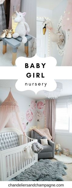 Gray and pink baby girl nursery inspiration with swans. Tulle canopy and floral wall accents in baby girl nursery. Nursery decor ideas for girls on Chandeliers and Champagne.