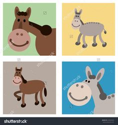 Happy smiley face cartoon horse and donkey farm animals in multi colored frames. Both smiling horse and donkey illustrations are portrayed in full view and head close-up. Full vector illustrations.