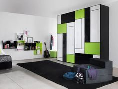 Getting Proper Wardrobe Design to Make One on Your Bedroom: Engaging Built In Wardrobe Ideas With Black White And Green Tone Interior Teenage Bedroom Decorating Also Rectangular Rug ~ workdon.com Furniture Inspiration