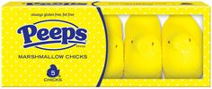 PEEPS® Classic Marshmallow Chicks available in yellow, purple, pink, orange, green, white and blue. Available in 5 ct, 10 ct, and 15 ct packages.