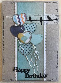 Her er et kort med masser af fødselsdags ballonner Inden i Bag siden - Joanna Birthday Cards, Balloons, Scrapbooking, Invitations, Christmas Ornaments, Holiday Decor, Diy, Crafts, Inspiration