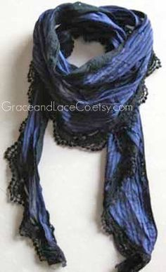 Apparently made of shimmery fabric with lace trim. Trina could wear this. The lace would drive me batty. Superman Costumes, Spring Scarves, Professional Wear, Lace Scarf, Lightweight Scarf, Striped Scarves, Purple And Black, Casual Looks, Lace Trim