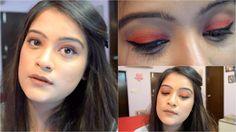 Bright Summery Orange Eye Makeup Look   Colorfull Makeup Tutorial