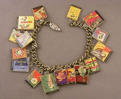 Vintage 1950's Charm Bracelet with 16 Miniature Record Albums - Sinatra etc...