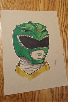 Portrait of the Green Power Ranger Ink, Copic Markers, White Gel pen Strathmore Toned Paper Started this series with the Red Power Ranger. I liked that enough that I decided to do all the Original Power Rangers. Power Rangers Art, Mighty Morphin Power Rangers, Green Power Ranger, Tommy Oliver, Power Ranger Birthday, Disney Paintings, Easy Canvas Art, Costume Ideas, Art Drawings