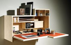 Falling Danzu Desk Folds Up and Away, Takes Up Less Space : TreeHugger