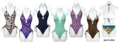 junior's print one-piece swimsuits with side cut outs & ties Case of 42