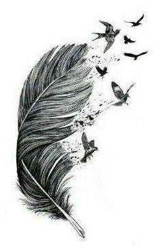 Owl Tattoo Design, Feather Tattoo Design, Tattoo Designs, Feather With Birds Tattoo, Feather Art, Feather Tattoos, Bird Tattoos, Tattoo Artwork, Tattoo Drawings