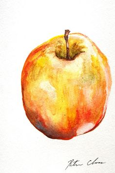 Apple Watercolor Still life Original Painting 6x9 by WoodPigeon, $25.00