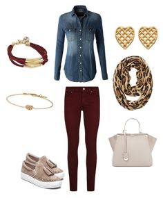 """""""Comfy and cute"""" by allonasada on Polyvore featuring Paige Denim, J/Slides, LE3NO, Fendi, GUESS, Gucci and Chico's"""