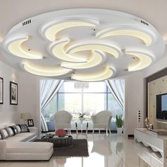 Examples of modern living room ceiling design. Modern ceiling design gives each room a highlight and a character all of its own. Gypsum Ceiling Design, House Ceiling Design, Ceiling Design Living Room, False Ceiling Living Room, Bedroom False Ceiling Design, Living Room Designs, House Design, Living Rooms, Family Room Lighting