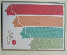 handcrafted birthday card ... wide columns of In Colors embossed with different textures ... cut off at an angle to make a diagonal line ... butterfly punched ends ... complete stamped butterflies punched and placed very near the spot where the punch line was made .,.. beautiful card! ... Stampin' Up!