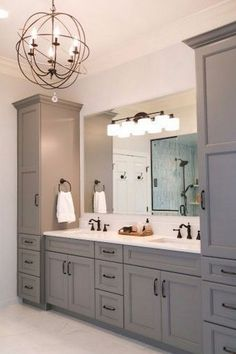 grey master vanity with two towers undermount sinks antique bronze rh pinterest com