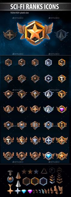 Buy Sci-Fi Ranks Icons by REXARD on GraphicRiver. Set of elements for the rank icons. You can combine them as you wish. More rank icons for your games: Game Card Design, Badge Design, Icon Design, Detective, Sci Fi Games, Badge Icon, Game Gui, Sci Fi Weapons, Professional Logo Design
