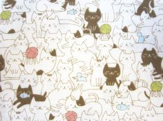Super cute cat fabric in double gauze by Cosmo Textiles.