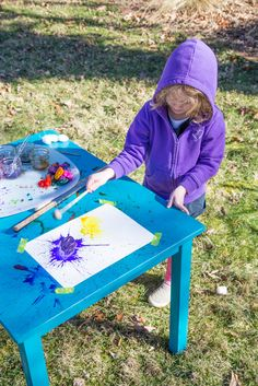 Splat Painting with Kids - Pound the Paint-Soaked Cotton Ball