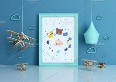 Set of 3 mockup Room airplane kids by Milan Mockup on @creativemarket