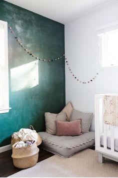 The colours of this wall! With a forest wallpaper on the rest of the walls. Love!