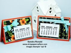 2018 Sale-a-Bration – Easy Desk Calendars for Him and Her! By Sandra at Artypape… - Dıy Desk vintage Ideen Desk Calender, Diy Calendar, Scrapbooking, Scrapbook Paper Crafts, Paper Crafting, Handmade Desks, Handmade Crafts, Happy Friday, Diy Makeup Remover Wipes