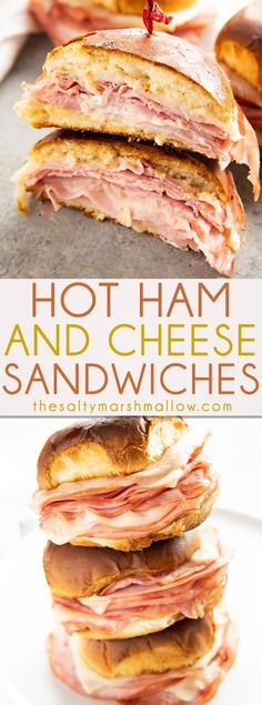 Hot Ham and Cheese Sandwiches are a takeout favorite made at home! Buttery toasted buns are baked with layers of ham and gooey cheese for a fun and easy weeknight dinner! Grilled Burger Recipes, Healthy Pizza Recipes, Spicy Chicken Recipes, Easy Dinner Recipes, Simple Recipes, Easy Weeknight Recipes, Recipes For Lunch, Ham Sandwich Recipes, Soup Recipes