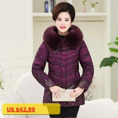 Winter Coat For Mom Mother Fur Collar Hooded Peacock Print Zipper Slim Parkas Cotton-padded Plus Size XL-5XL C70904