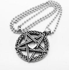 Pentagram Moon Wiccan Pendant