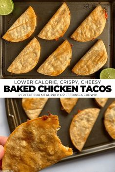 A simple way to make healthier crispy baked chicken tacos in bulk with cooked chicken or your choice of fillings Recipe includes filling recipes for fajita chicken and peppers bean and cheese pineapple chipotle chipotle beef and Cheesy Baked Chicken, Baked Chicken Tacos, Burrito Chicken, Teriyaki Chicken, Teriyaki Sauce, Chicken Tostadas, Barbecue Sauce, Crispy Chicken, Chicken Taquitos
