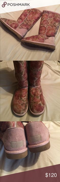 Limited edition tall floral Uggs! Rare limited edition floral rose tall ugg boots! 🌹 UGG Shoes Winter & Rain Boots