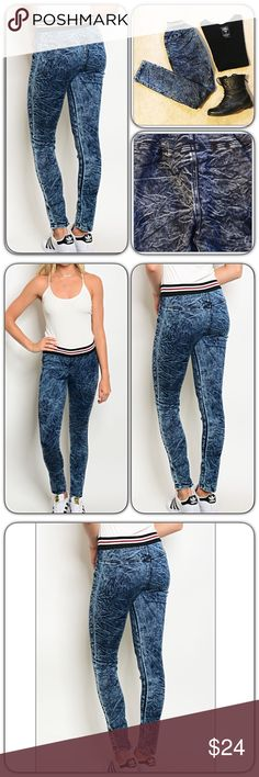 "Distressed Denim Acid Wash Leggings Jeggings SML How adorable are these distressed denim leggings/jeggings?!  These look great with tees & tunics and can be dressed up or down. Acid wash blue denim (not jeans) with striped ribbed elastic waistband. No pockets, zippers or buttons. 70% cotton - 27% polyester - 3% spandex.   Small 2/4 Inseam 28"" Medium 6/8 Inseam 28.5"" Large 10/12 Inseam 29"" Jeans Skinny"