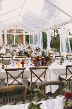 jewel toned wedding flowers, fall wedding, boho wedding, villa montalvo, clear tent, string lights, tent lighting // Julianne Brasher Photography // Apis Floral // Events by Satra