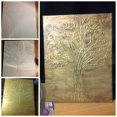 Canvas+Elmer's glue+ paint!!! So easy!