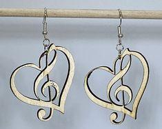 Heart Piano Wooden Dangle Earrings for Music Lovers | Etsy Treble Clef Heart, Music Jewelry, Music Lovers, Friends In Love, Wire Wrapping, Hippie Boho, Dangle Earrings, Custom Design, Dangles