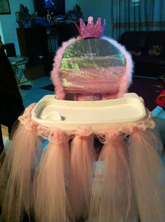 first high chair invented covers with sashes for rent 12 best baby images chairs made my daughter s princess party just tulle ribbon a feather boa and foam glitter crown