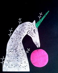 Unicorn Dream  Linocut by DoolallytapDesign
